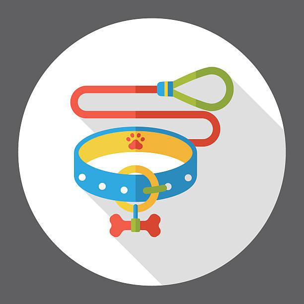 hund ketten flache symbol - hundehalsbänder stock-grafiken, -clipart, -cartoons und -symbole
