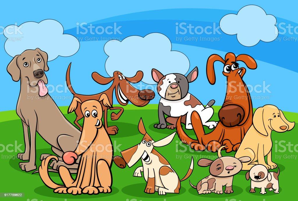 dog characters group cartoon illustration vector art illustration