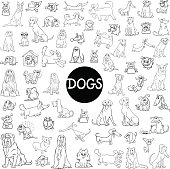 Black and White Cartoon Illustration of Dogs Pet Animal Characters Big Collection
