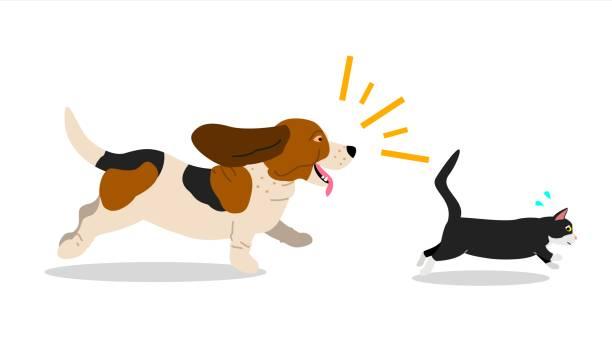 犬を追う猫 ベクターアートイラスト