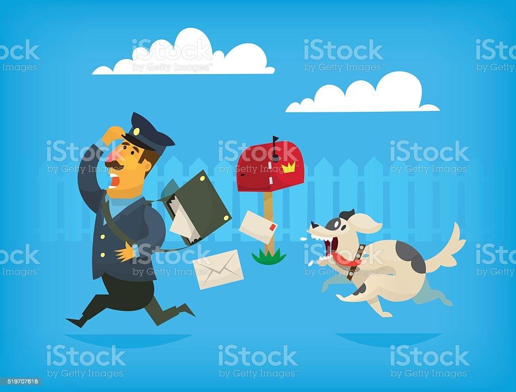 Dog chasing a mailman. Illustration vector art illustration