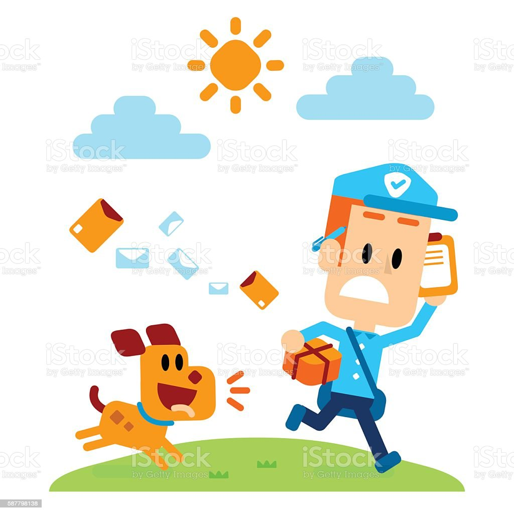 Dog Chasing A Mailman vector art illustration