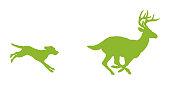 istock Dog Chasing Deer 1003597876