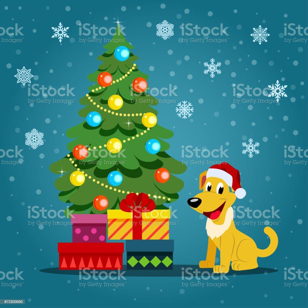 dog christmas tree and gifts vector flat style illustration royalty free dog christmas