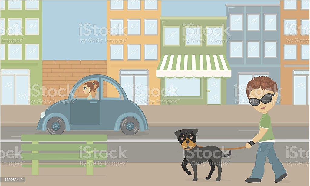 Dog city walk vector art illustration