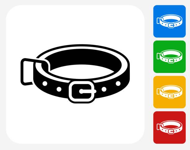hundehalsband symbol flache grafik design - hundehalsbänder stock-grafiken, -clipart, -cartoons und -symbole