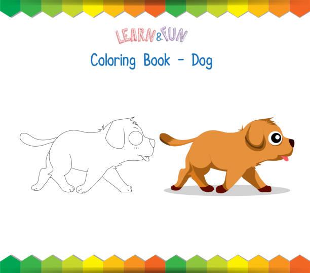 hund malbuch lehrreiche spiel - hundehaarbögen stock-grafiken, -clipart, -cartoons und -symbole