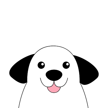 Dog contour line face head silhouette. Cute cartoon pooch character. Doodle linear sketch.Kawaii animal. Funny baby puppy. Love Greeting card Flat design White background Isolated.