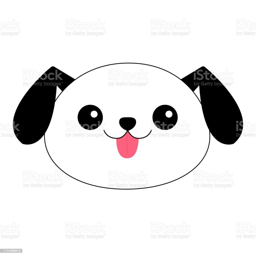 Dog Contour Line Round Head Face Silhouette Doodle Linear Sketch Cute Cartoon Pooch Character Kawaii Animal Funny Baby Puppy Love Greeting Card Flat Design White Background Isolated Stock Illustration Download Image