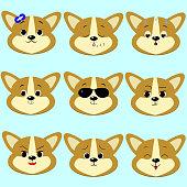 Dog Corgi smiley, a set of different emotions.