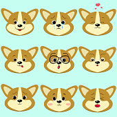 Dog Corgi smiley, a set of different emotions.