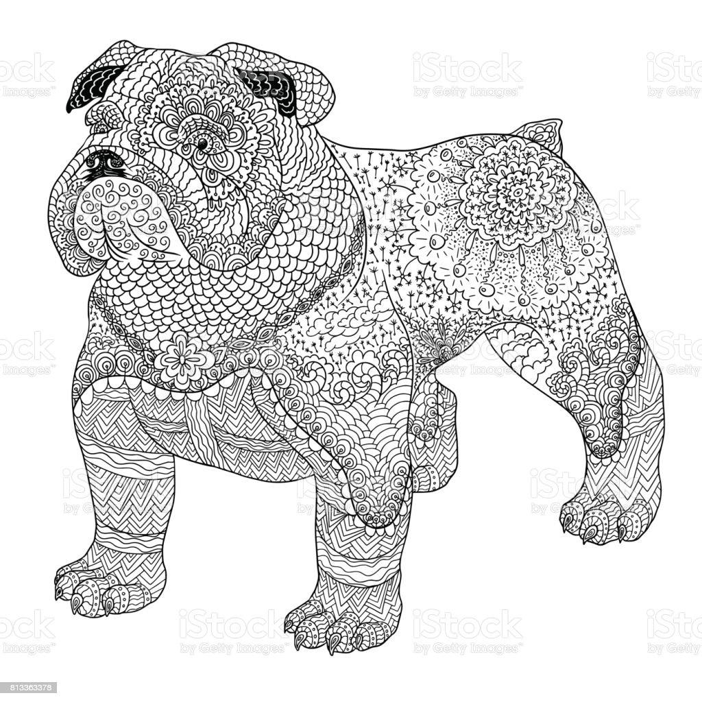 Köpek Boyama Kitabı Için Yetişkin Doodle Beyaz Arka Plan üzerinde
