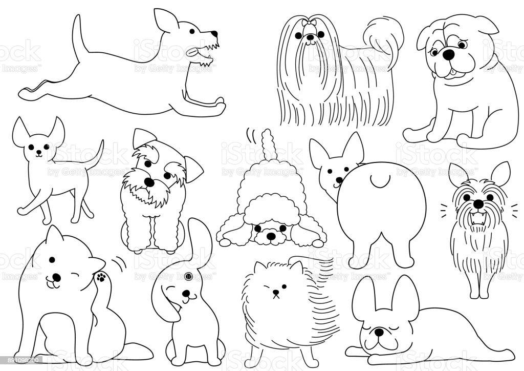 犬のいたずら書きライン アート セット ベクターアートイラスト