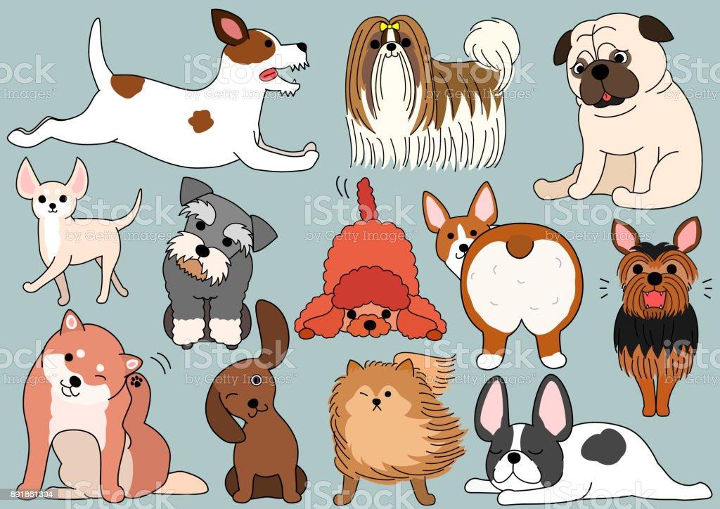 犬セットを落書き ベクターアートイラスト
