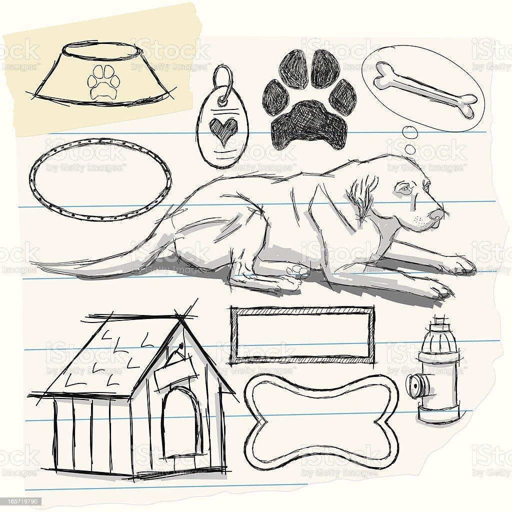 Perro Y Garabatos Illustracion Libre de Derechos 165719790 | iStock