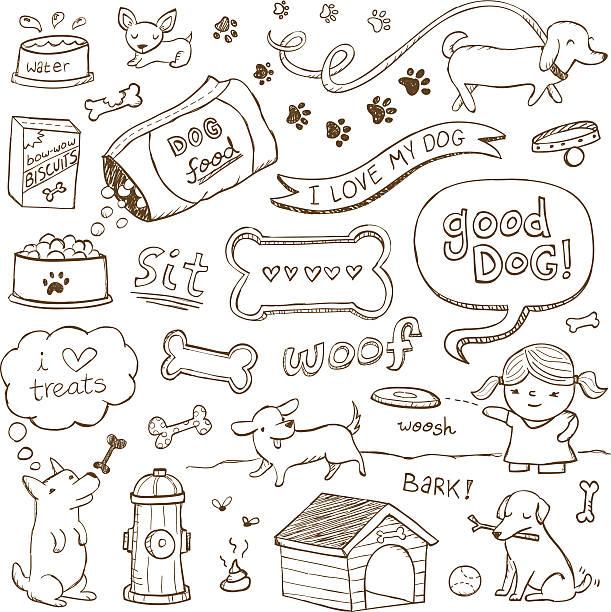 hund und kritzeleien - schoßhunde stock-grafiken, -clipart, -cartoons und -symbole