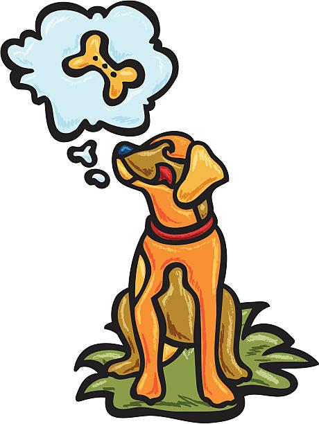 Dog dreams of treat vector art illustration