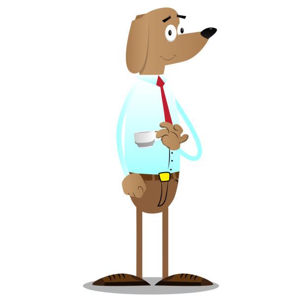 hund, kaffee zu trinken. - arbeitshunde stock-grafiken, -clipart, -cartoons und -symbole