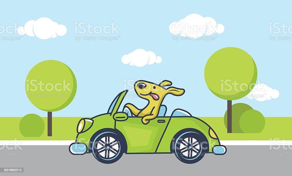 dog driving car vector art illustration