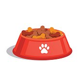 Dog dry food bowl. Bone shaped crisps