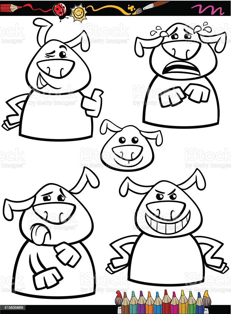 Ilustración De Perro De Dibujos Animados Emociones Para Colorear