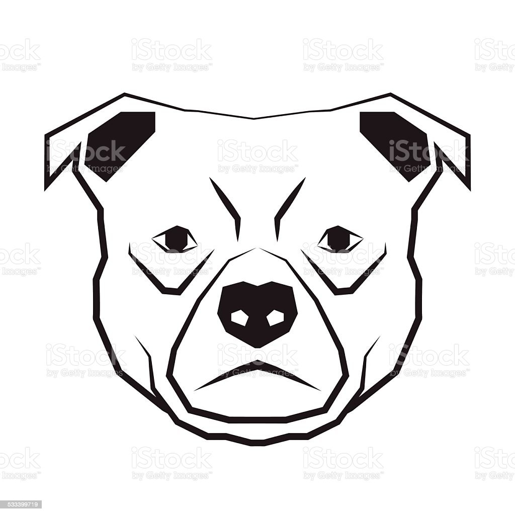 dog face black and white drawing contour vector art illustration