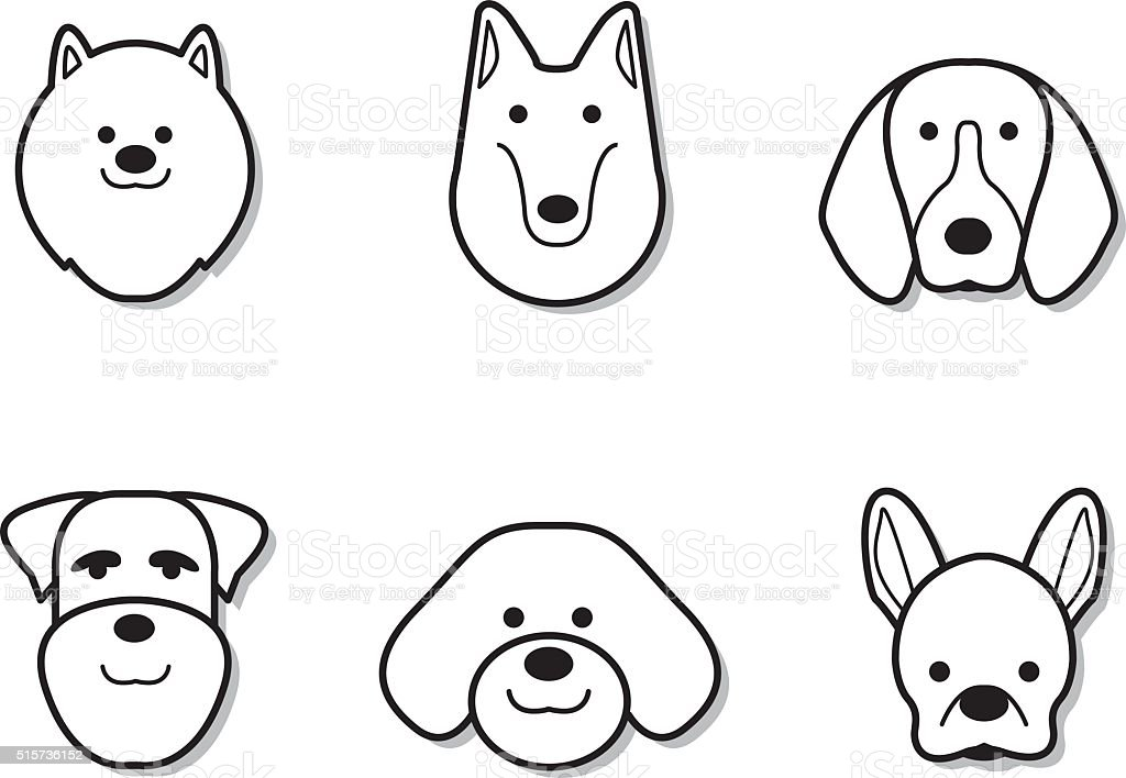 Line Drawing Dog Face : Dog face design vector stock art more images of