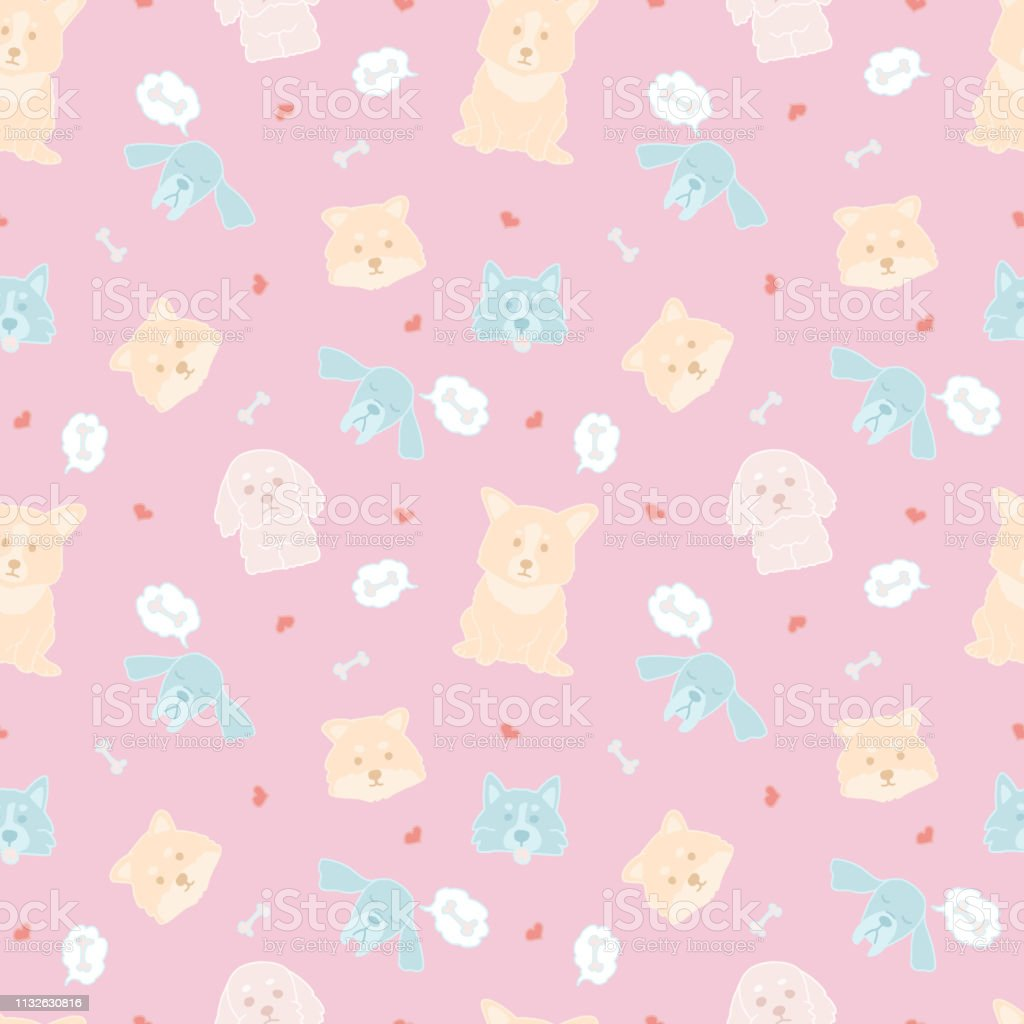 Dog face, funny cartoon doodle vector seamless pattern. Cute and bright illustrations of different animals on pink background. Doodle style seamless hand drawn pattern.