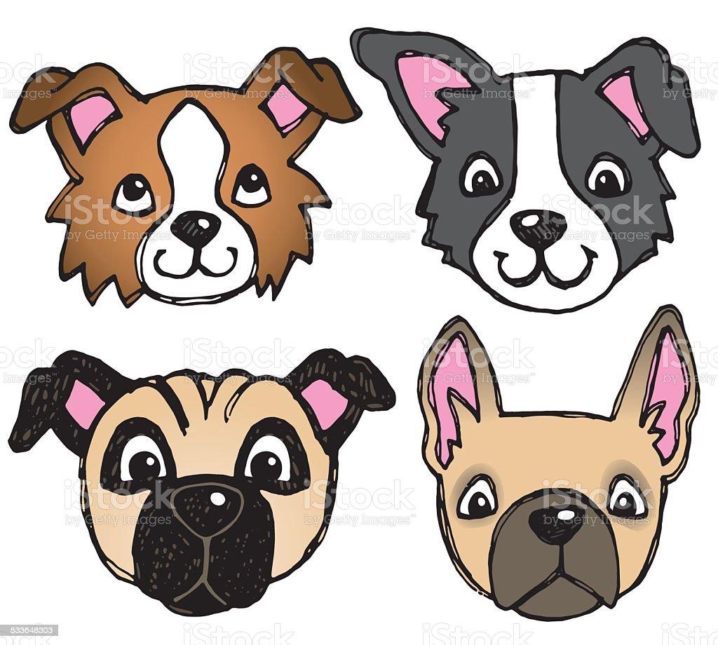 Dog Face Icons vector art illustration