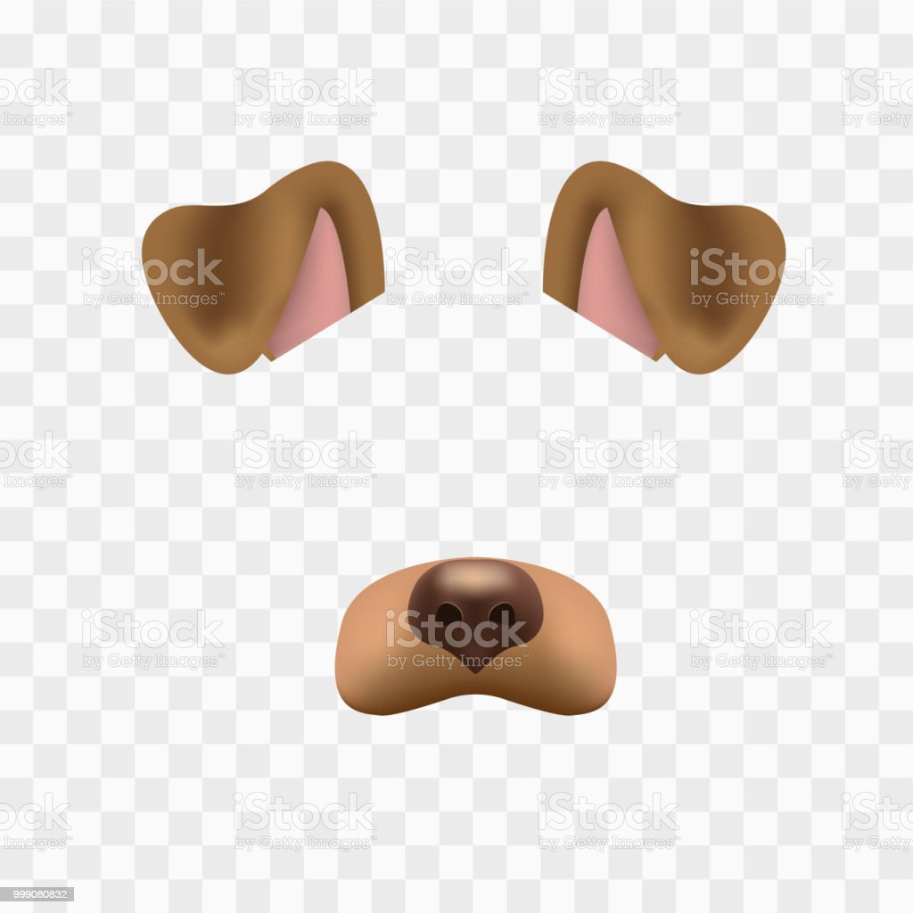 Dog face mask for video chat isolated on checkered background. Animal character ears and nose. 3d filter effect for selfie photo decoration. Brown dog elements. vector art illustration