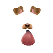 Dog face mask for video chat isolated on white background. Animal character ears and nose. 3d filter effect for selfie photo decoration. Brown dog elements.