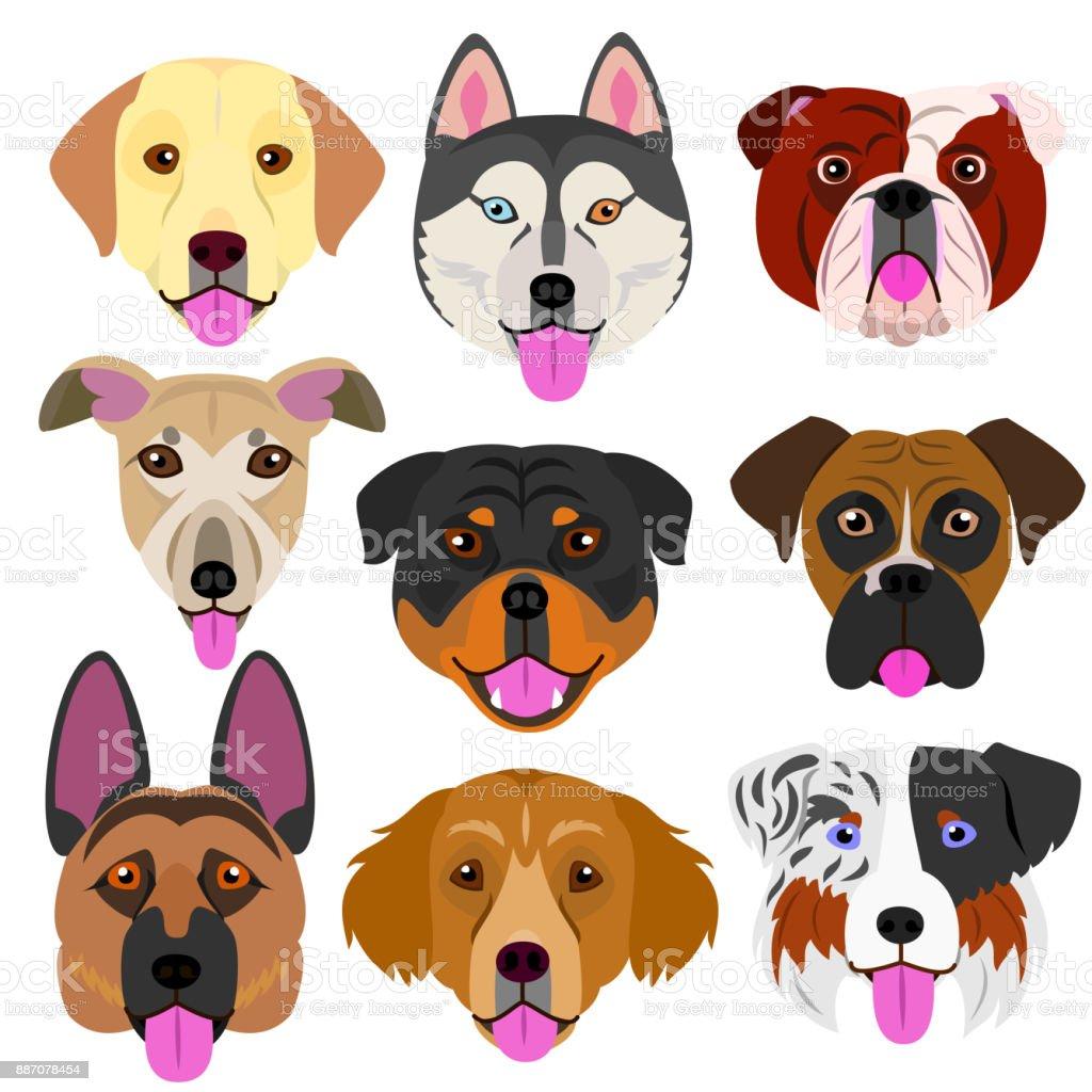 犬の顔を舌で設定 ベクターアートイラスト