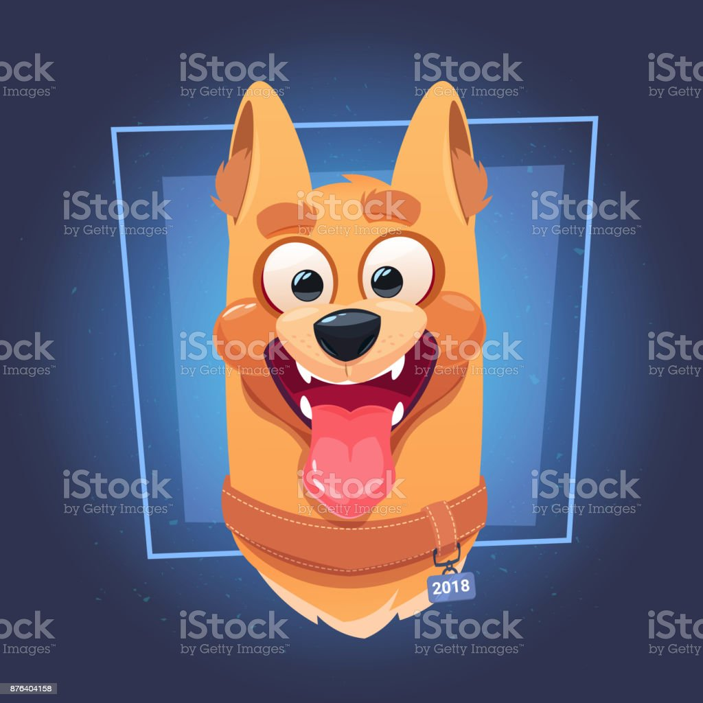 Dog Face With Open Mouth On Blue Background Flat Vector Illustration