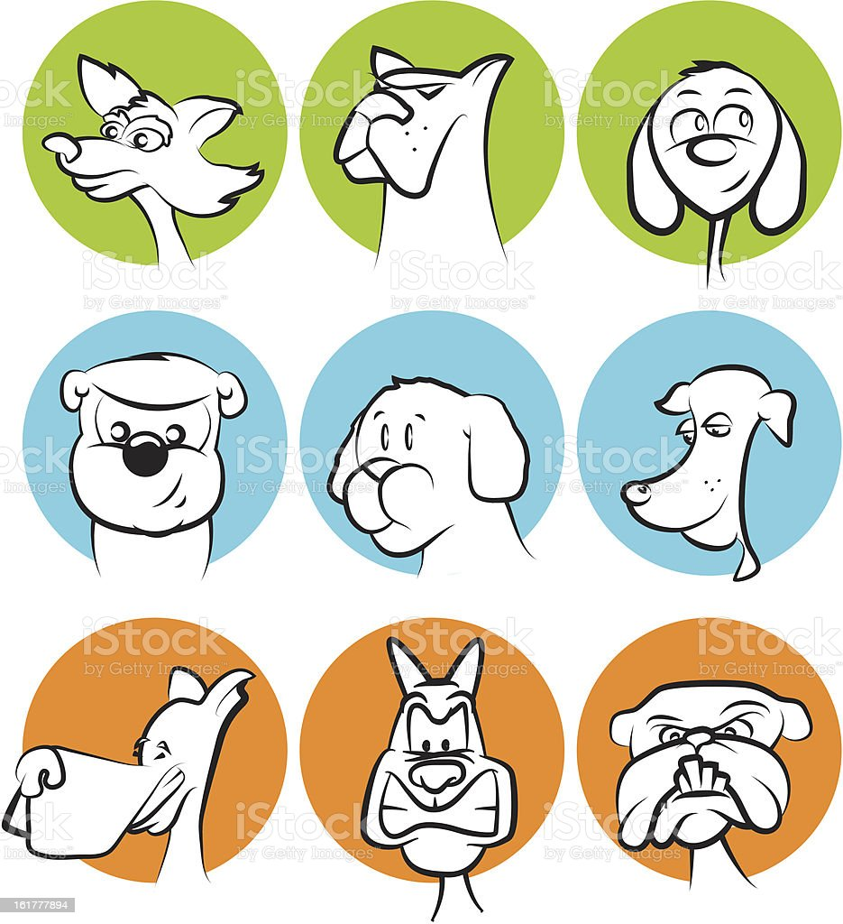 Dog Faces Collection Stock Vector Art & More Images of Black Color ...