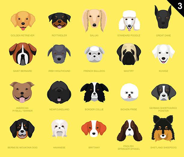 Dog Faces Icon Cartoon 3 vector art illustration