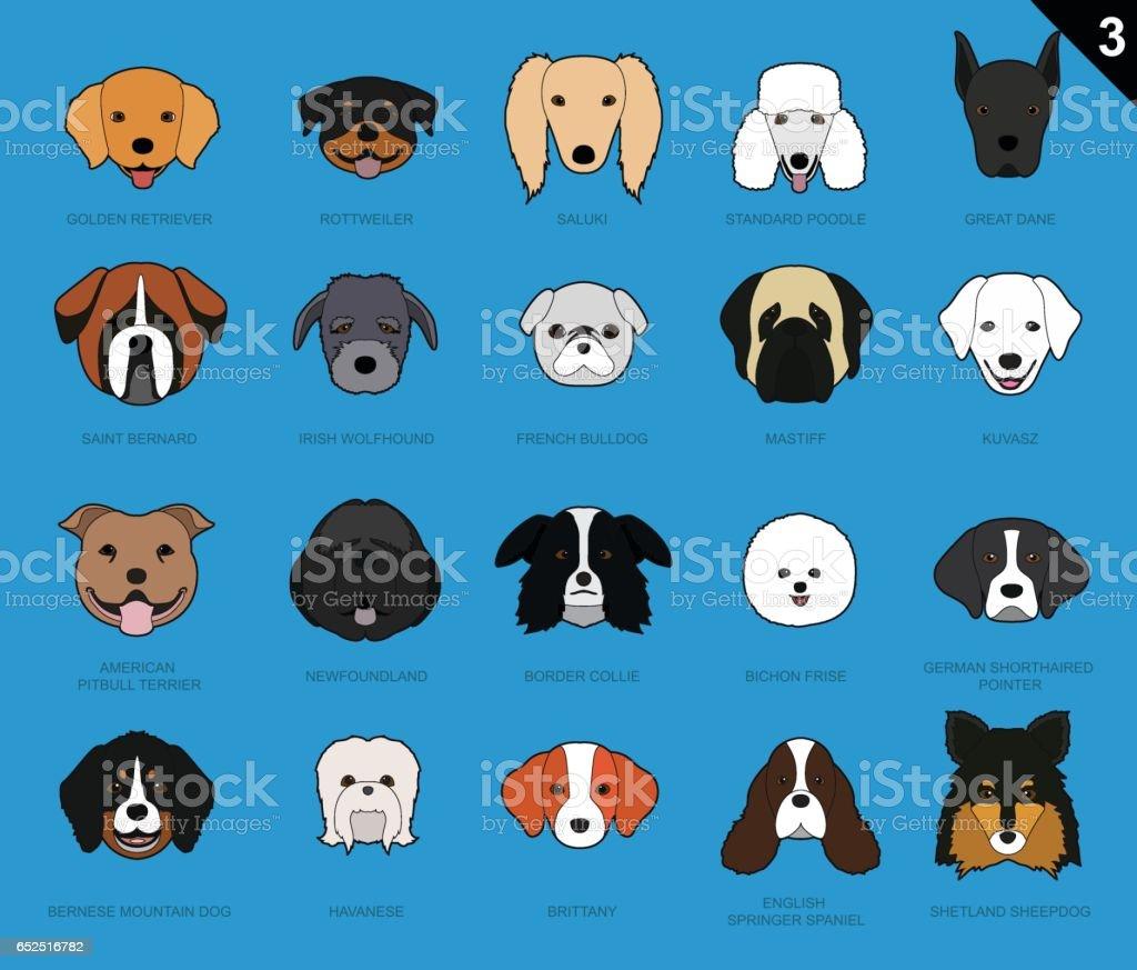 Dog Faces Stroke Cartoon Set 3 vector art illustration