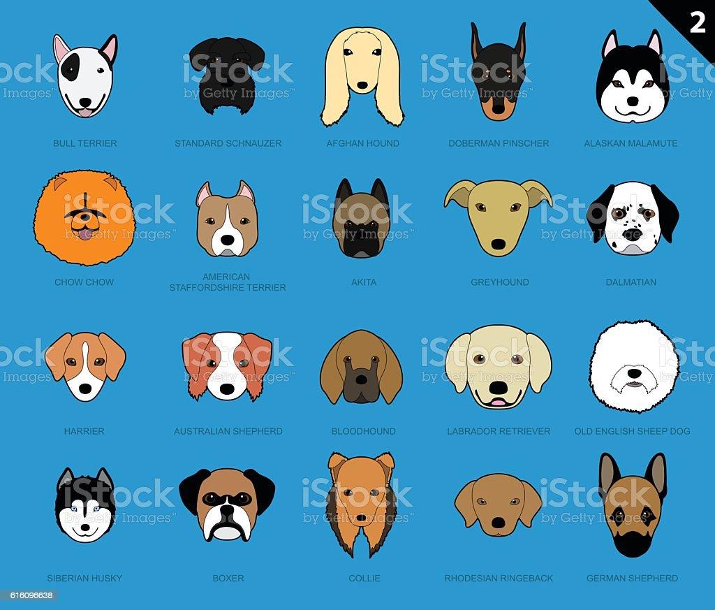 Dog Faces Stroke Icon Cartoon 2 vector art illustration
