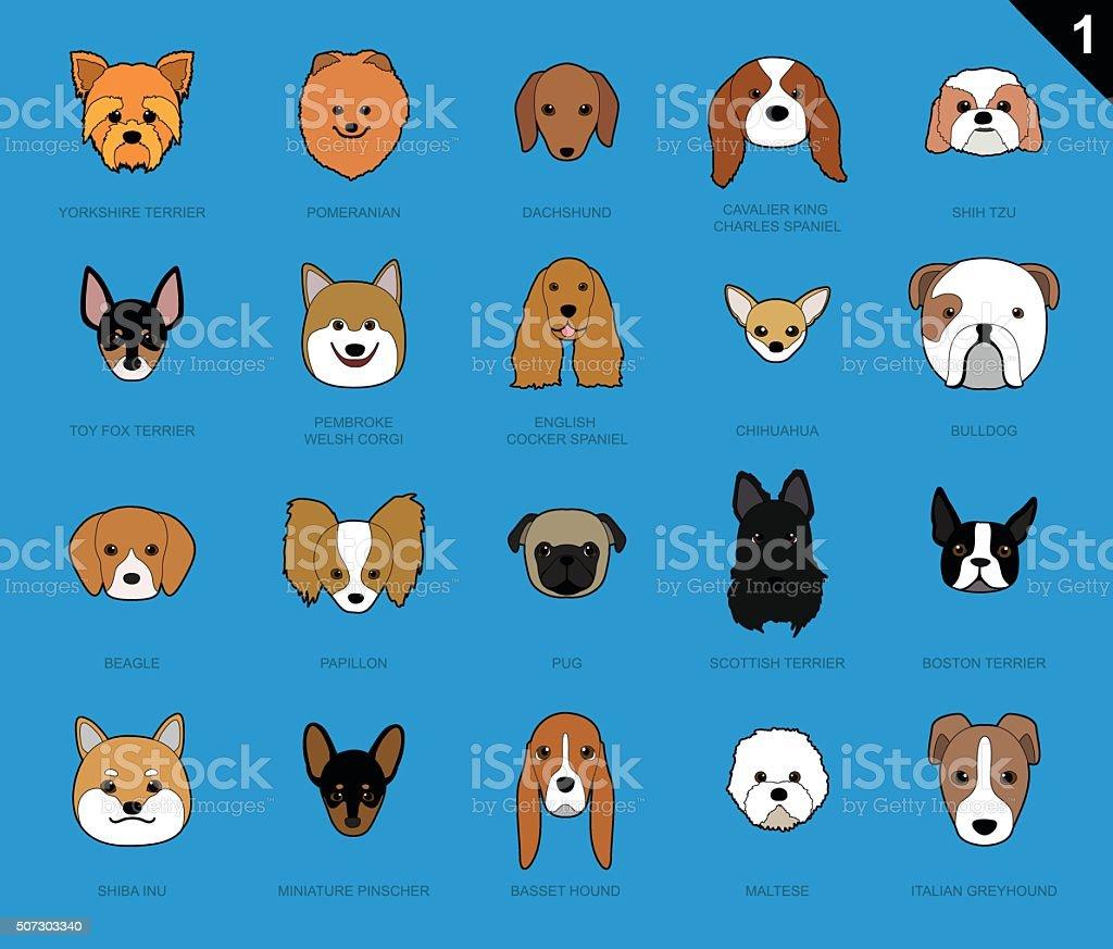Dog Faces Stroke Icon Cartoon vector art illustration