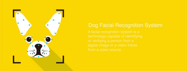 dog facial recognition system concept icons, simple vector illustration - facial recognition stock illustrations