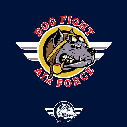 Dog Fight insignia pitbull pilot WWII nose art emblem style