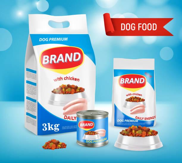 ilustrações de stock, clip art, desenhos animados e ícones de dog food brand ad vector realistic illustration - lata comida gato