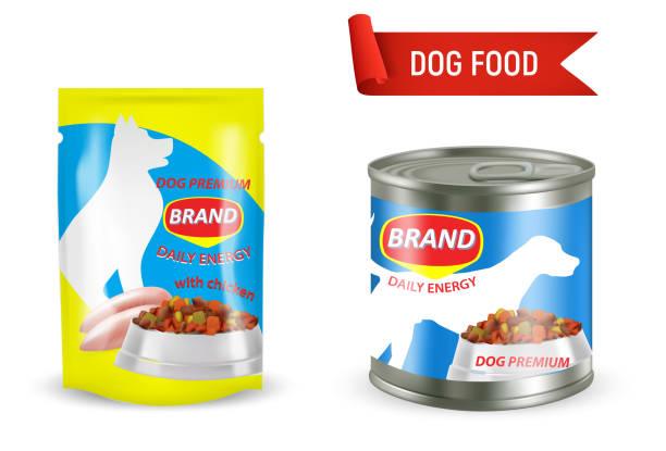 ilustrações de stock, clip art, desenhos animados e ícones de dog food package mockup set, vector illustration - lata comida gato
