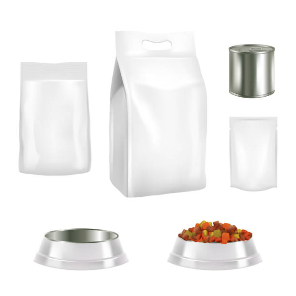ilustrações de stock, clip art, desenhos animados e ícones de dog food packaging vector realistic mockups - lata comida gato