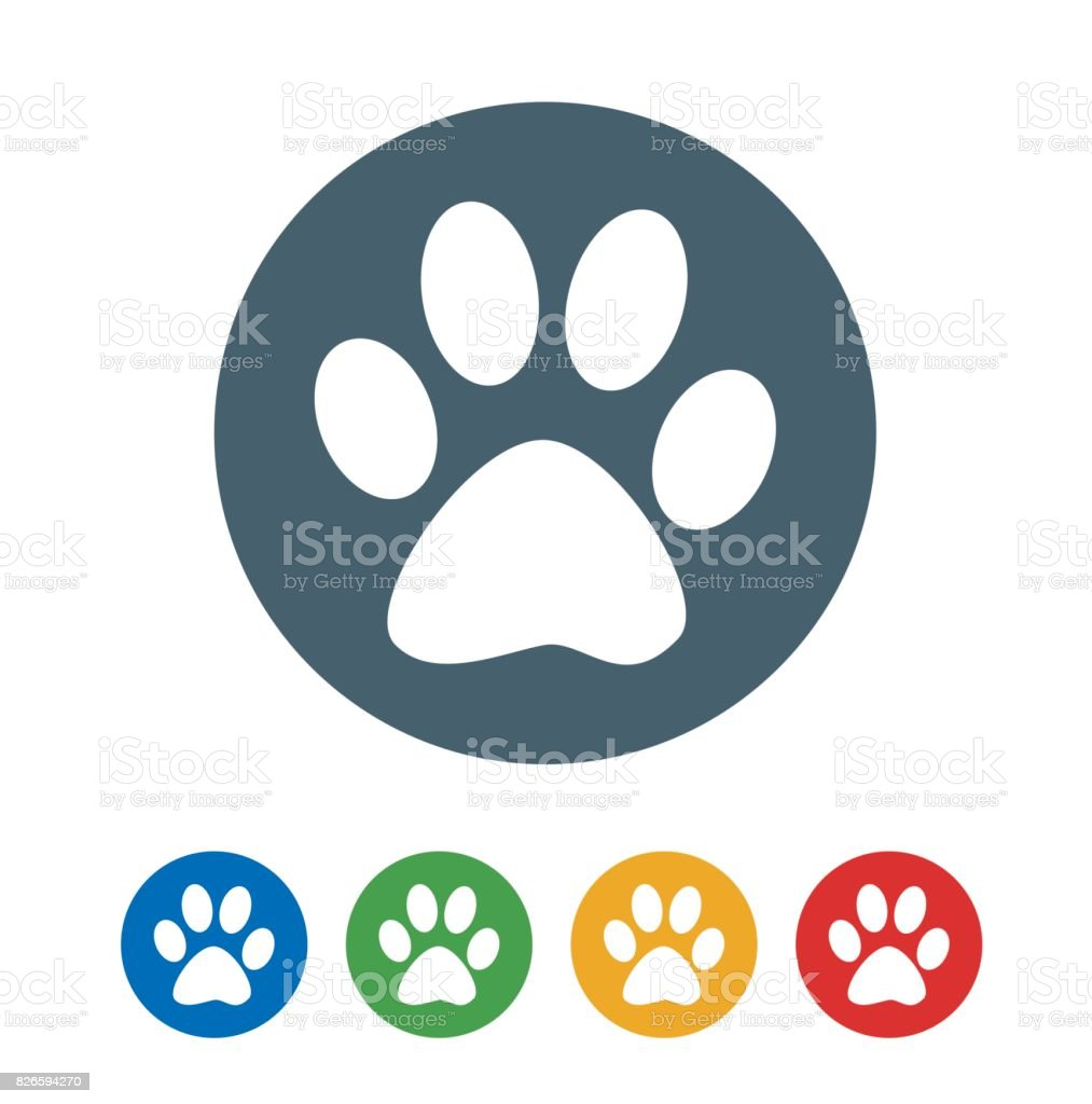 Dog foot print flat icon isolated on white background. vector illustration icon векторная иллюстрация