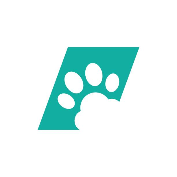 犬の足跡ロゴ - ペットショップ点のイラスト素材/クリップアート素材/マンガ素材/アイコン素材