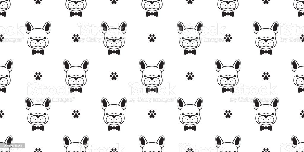 Dog French Bulldog Bow Tie Paw Vector Seamless Pattern Wallpaper Background Royalty Free