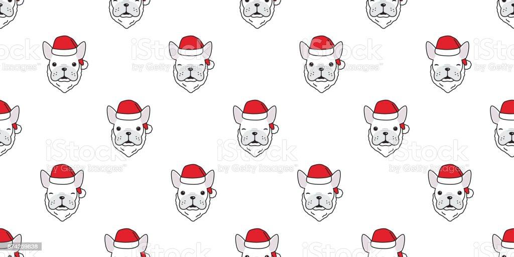 dog french bulldog christmas santa claus hat new year seamless pattern vector wallpaper background royalty