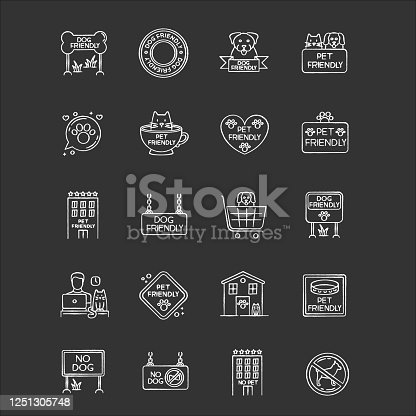 istock Dog friendly and no pet signs chalk white icons set on black background. Cats and dogs allowed and banned areas. Animals welcome and not allowed zones. Isolated vector chalkboard illustrations 1251305748