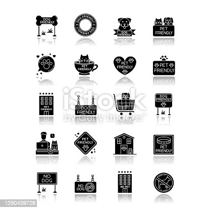 istock Dog friendly and no pet signs drop shadow black glyph icons set. Cats and dogs allowed and banned areas. Animals welcome and not allowed zones. Isolated vector illustrations on white space 1250439728