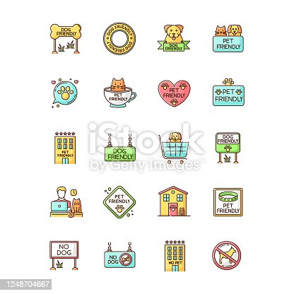 istock Dog friendly and no pet signs RGB color icons set. Cats and dogs allowed and banned areas, free and closed entry. Domestic animals welcome and not allowed zones. Isolated vector illustrations 1248704667